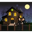 Halloween scene with beautiful witches vector image