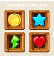 Wooden box app icons vector image