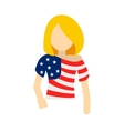 Girl in USA flag colors t-shirt icon vector image