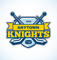 ice hockey knights team logo shield template vector image