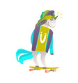 portrait of unicorn character riding a skateboard vector image