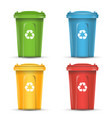 realistic containers for recycling waste sorting vector image