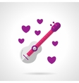 Valentines guitar bright flat icon vector image