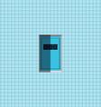 Blue door on blue wall vector image