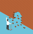 Isometric businessman use hammer breaking the wall vector image