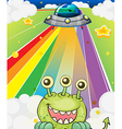 A three-eyed monster near a spaceship vector image vector image