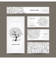 Business cards collection with frames tree design vector image vector image