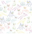 Seamless with colorful cat contours vector image