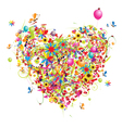 floral holiday heart vector image vector image