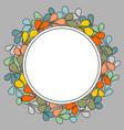 autumn laurel wreath frame on grey background vector image