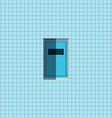 Blue door on blue wall vector image