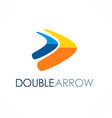 double arrow colored logo vector image