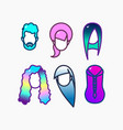 dyed hair icon set vector image