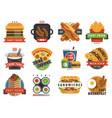 fast food flat label logo emblem restaurant tasty vector image
