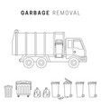 garbage removal line drawing vector image