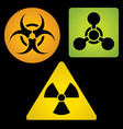 signs of chemical biological and radioactive vector image