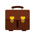 Brown leather briefcase icon flat style vector image