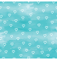 blue pattern background with hearts vector image
