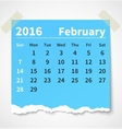 Calendar february 2016 colorful torn paper vector image