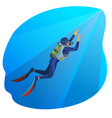 deep sea diver swimming man on vector image