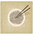 noodles on plate old background vector image