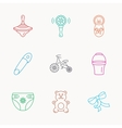 Newborn diapers and bear toy icons First bike vector image