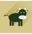 Flat icon with long shadow cow calf vector image