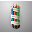 Colorful pencil crayons with text Back to school vector image