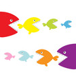 fish set eating each other food chain cute vector image