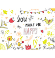 You make me happy greeting card vector image