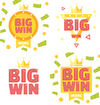 big win banner set vector image