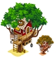 Cosy house built on large tree isolated vector image