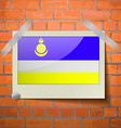 Flags Buryatia scotch taped to a red brick wall vector image