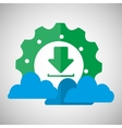 gear download cloud communication design vector image
