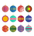set of christmas toys in the style flat vector image