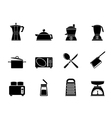 Silhouette kitchen and household equipment icon vector image