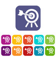 arrow hit the target icons set vector image