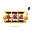 dollar euro and pound currency symbols on slot vector image