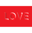 LOVE text cut out from red paper vector image