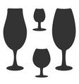 set of different wine-glass silhouettes of goblets vector image