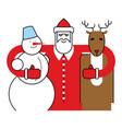 santa snowman and reindeer christmas character vector image