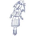 cartoon vector silhouette of a girl vector image vector image
