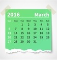 Calendar march 2016 colorful torn paper vector image