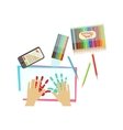 Child Painting With Palms Only Hands vector image