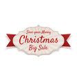 christmas big sale tag isolated on white vector image