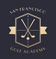 golf academy logo emblem with clubs vector image