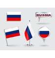 Set of Russian pin icon and map pointer flags vector image