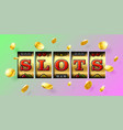 slot machine gambling game casino banner with vector image