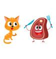 funny red cat kitten character steak holding vector image