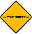 Isolated single en construccion sign vector image